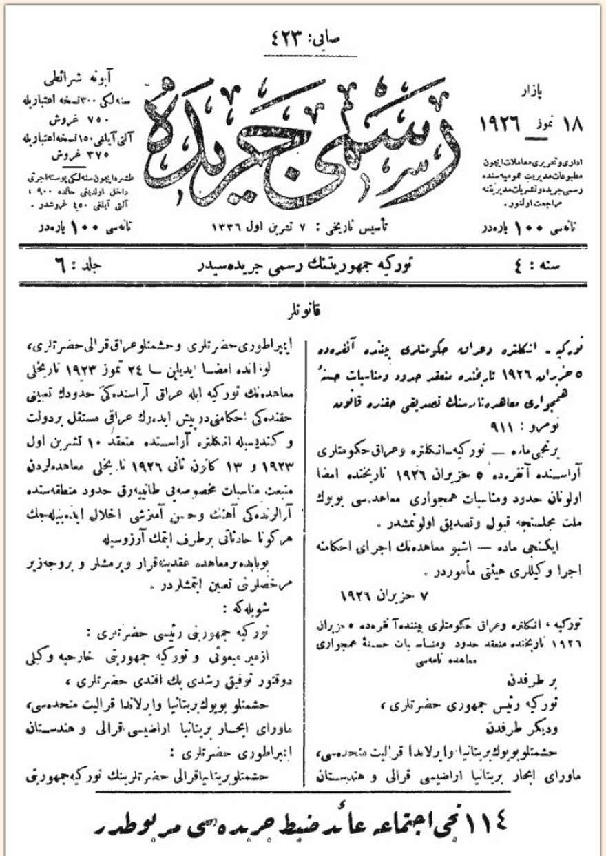 1926-ankara-antlasmasi-resmi-gazete