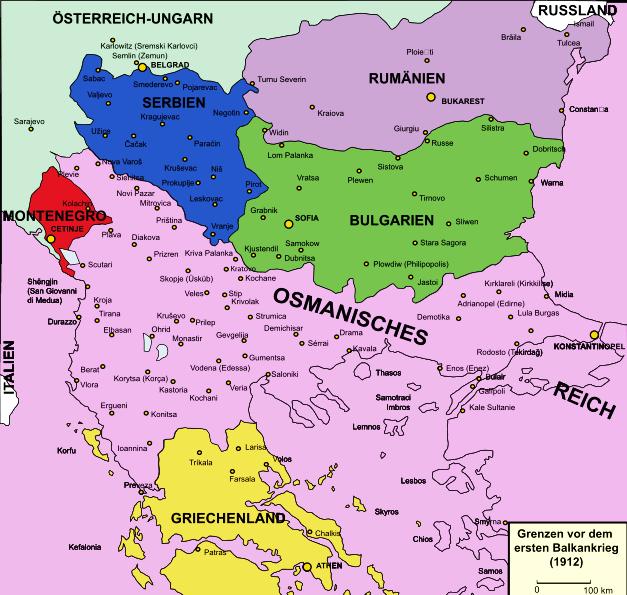 Balkan savaşı öncesinde Osmanlı sınırları.